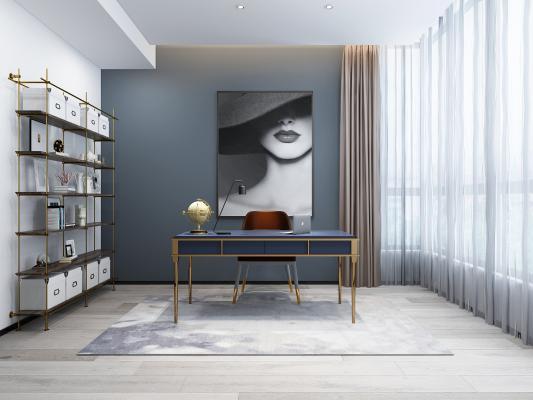 现代书房 挂画 书架