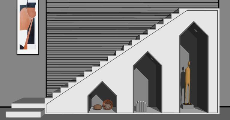 现代楼梯 装饰柜 储物柜