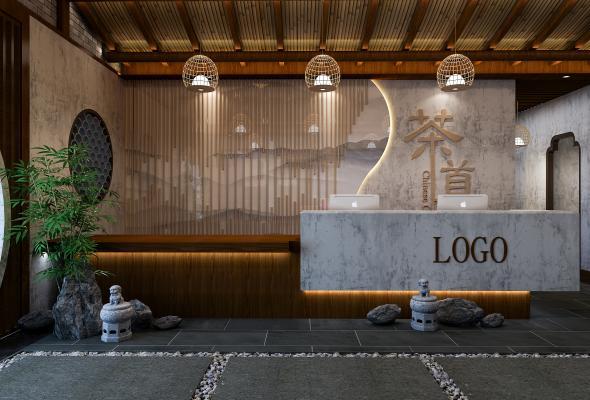 新中式茶馆 前台 大厅 接待台