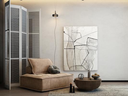 现代单人沙发、茶几
