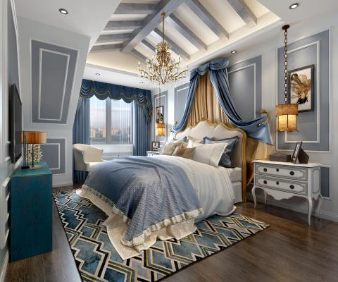 地中海风格卧室3D模型