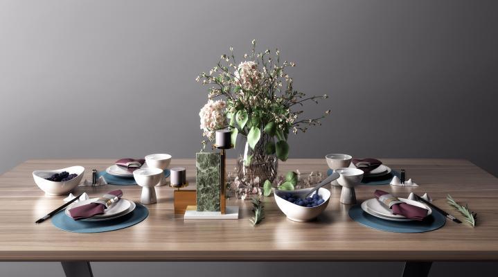 现代餐具 花瓶组合