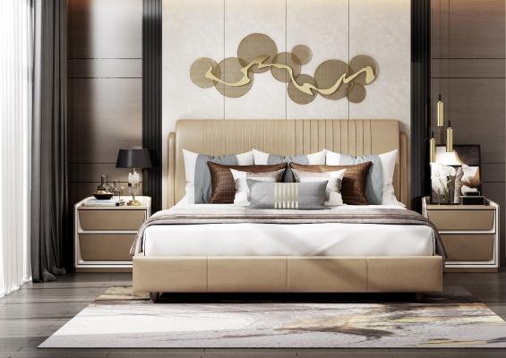 现代床组合 床头柜 装饰品