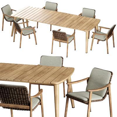 minotti现代户外藤编餐桌椅 单椅 户外餐桌