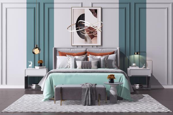 现代双人床 床头柜 金属艺术吊灯