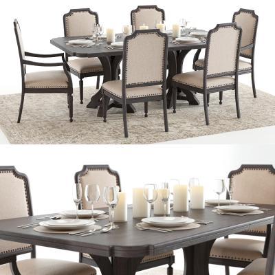 美式实木餐桌椅餐具组合