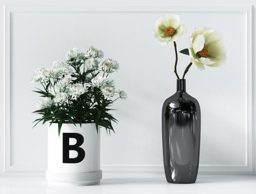现代植物绿叶盆栽组合,花瓶,花盆,绿叶盆栽 ,植物摆件
