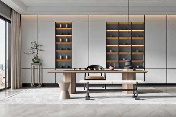 新中式茶室 茶桌椅组合 摆件
