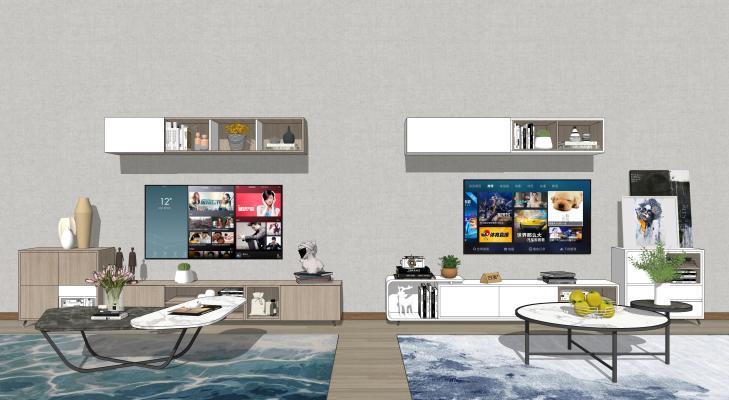 现代电视机 电视柜 背景墙组合