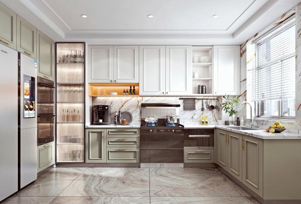 北欧家居厨房 集成灶 咖啡机