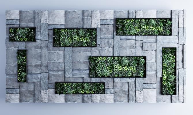 现代毛石绿植背景墙 绿植墙 毛石背景墙