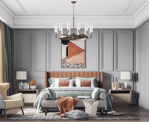 美式卧室 床 床尾凳