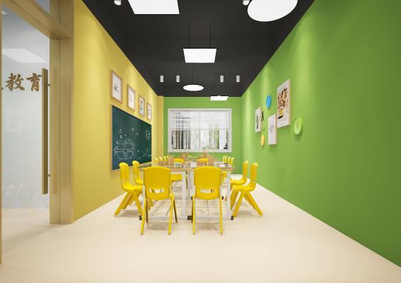 现代学校教室 吊灯 挂画