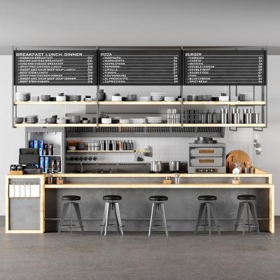 工業風咖啡吧 收銀前臺 吧臺 餐具