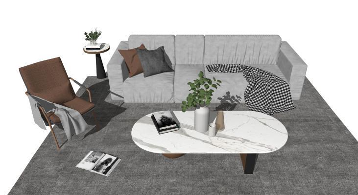 现代轻奢客厅 沙发组合