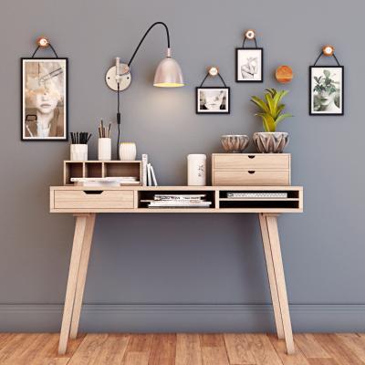 北欧书桌 装饰画 壁灯