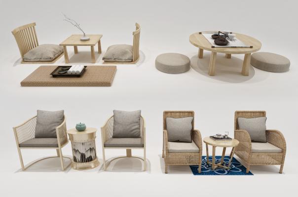 日式休闲椅 茶桌