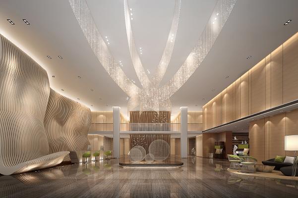 现代酒店大堂 现代组合沙发 电视背景墙