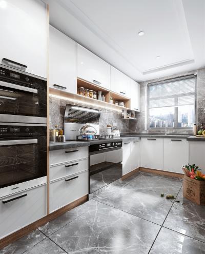 北欧风格橱柜 蒸箱烤箱 集成灶