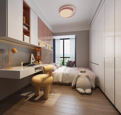 现代儿童房 吸顶灯 儿童床