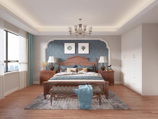 美式卧室 装饰画 吊灯