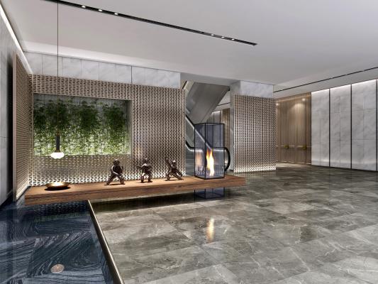 新中式酒店过道 酒店玄关 新中式小品