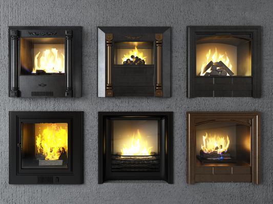 简欧壁炉 炉火