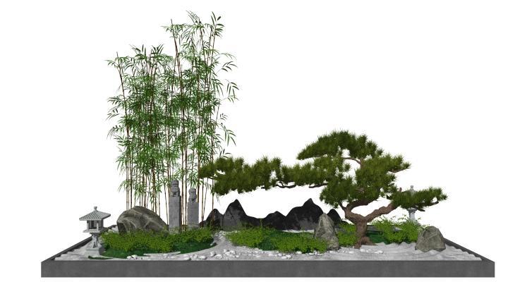 新中式庭院景观 松树