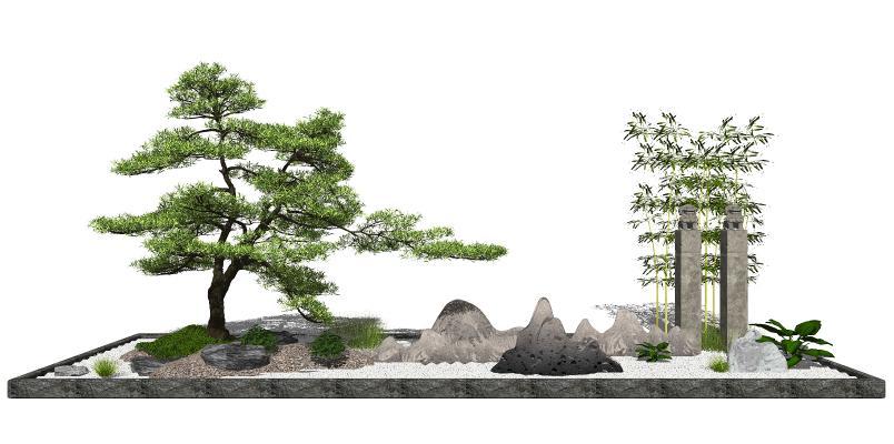 新中式景观小品 庭院景观 景观树
