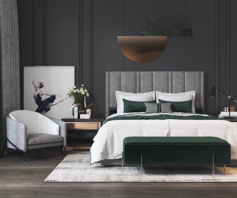 现代双人床 单人沙发