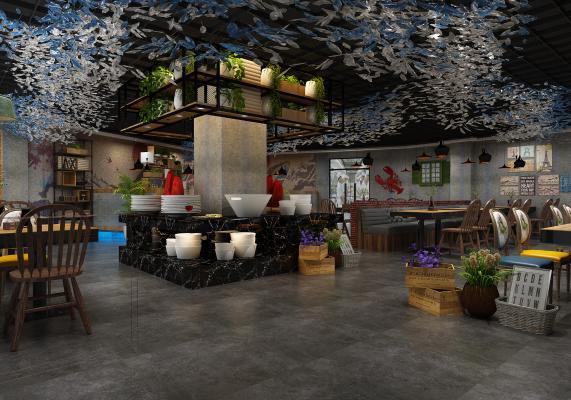 工业风海鲜主题餐厅