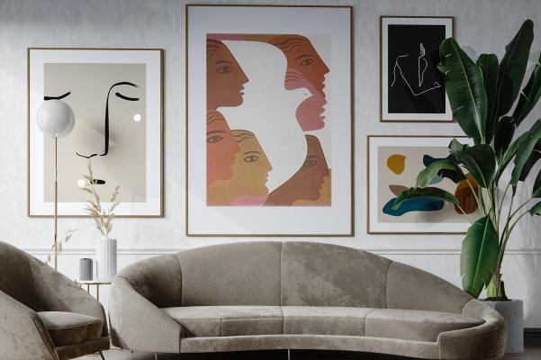北欧风格沙发组合 人物抽象挂画 植物 盆栽 休闲沙发