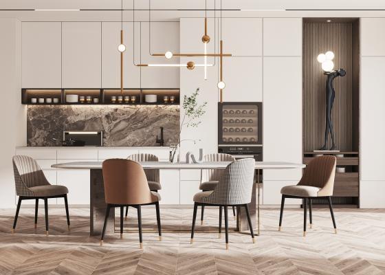 现代餐厅 餐桌椅组合 吊灯