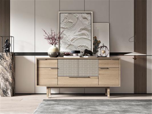 新中式玄关边柜 装饰画 饰品摆件