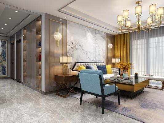 新中式客餐厅 沙发茶几组合 电视 酒柜