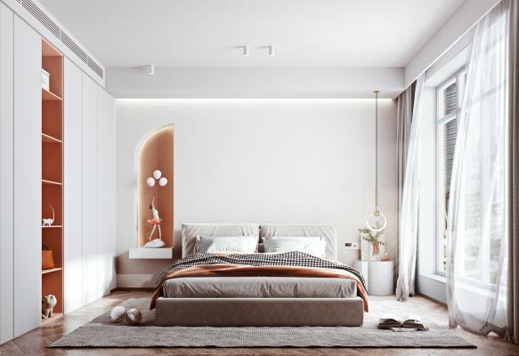 北欧卧室 双人床 衣柜