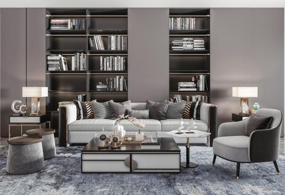 新中式风格沙发茶几 组合沙发 单人椅