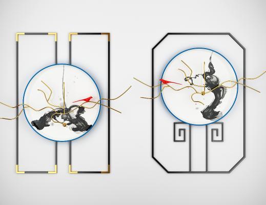 新中式金属墙饰挂盘子