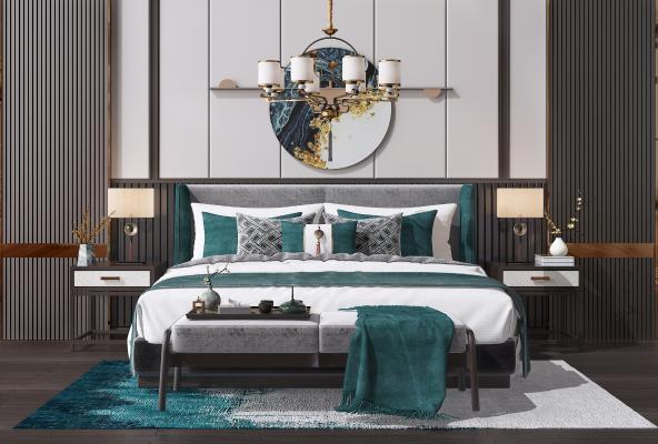 新中式双人床组合 床榻