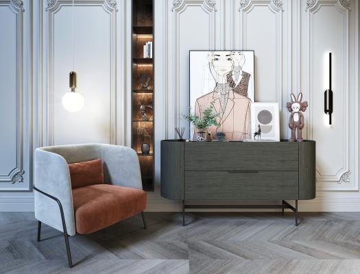 现代休闲椅 边柜组合 摆件饰品 装饰 休闲椅 金属球形吊灯