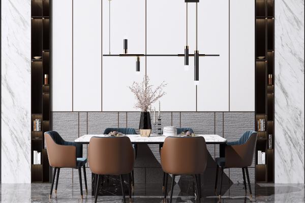 现代轻奢餐桌椅组合 金属吊灯 书籍摆件