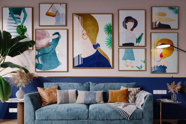 北欧风格双人沙发 盆栽 挂画 抱枕 落地灯