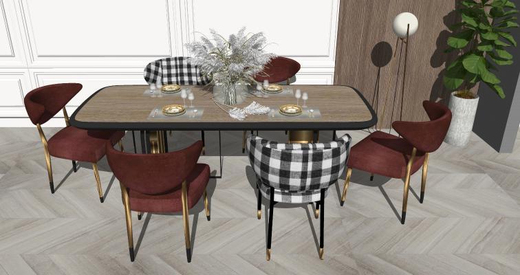现代轻奢餐桌椅 花饰摆件 休闲椅