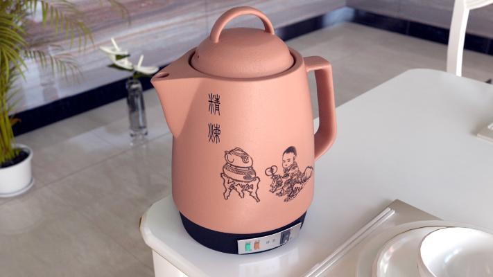 現代陶瓷煎藥褐色壺
