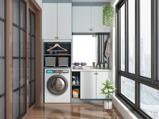 现代洗衣机 阳台柜