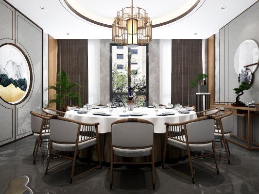 新中式餐廳包廂 吊燈 掛畫