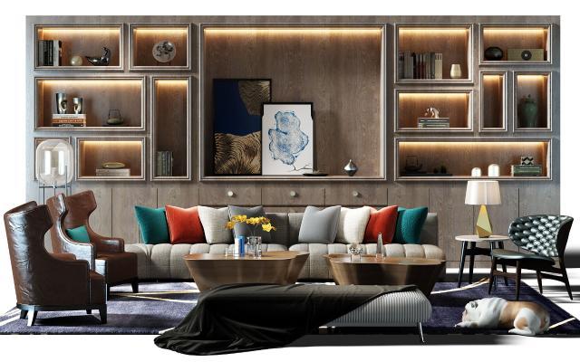 新古典沙发博古架装饰柜