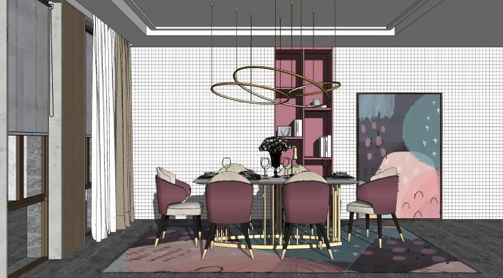 北欧餐厅 酒柜 餐桌椅