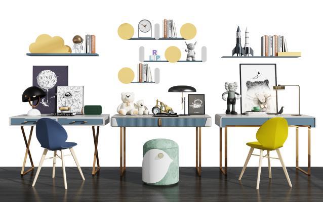 现代儿童书桌椅组合