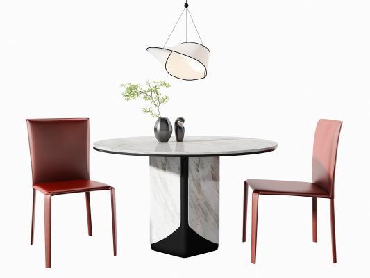现代餐桌椅 吊灯组合